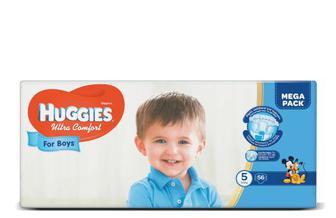 Підгузки Huggies Ultra Comfort для хлопчиків 5 (12-22 кг) 56 шт