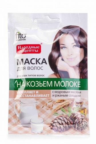 Маска для волос Fitoкосметик с кедровым маслом и солодом На козьем молоке 30 мл