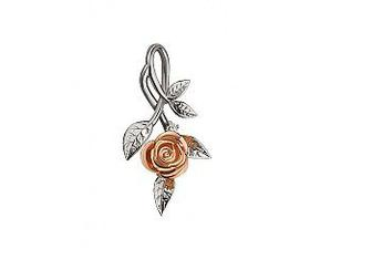 Золотой кулон Роза с бриллиантом