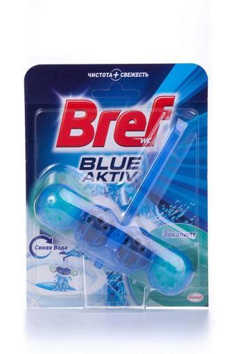 Чистящий блок для туалета Bref Колор Актив цветная вода эвкалипт, 50г