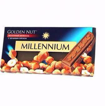 Шоколад Міленіум Голд 90г Лісовий горіх молочний та чорний