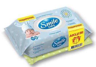 Серветки вологі Екстракт ромашки і алое + cерветки вoлогі 24 шт. Smile Baby - 100 шт