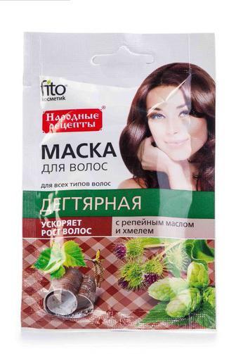 Маска для волос Fitoкосметик с репейным маслом и хмелем Дегтярная, 30 мл