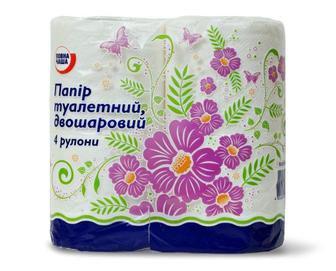 Папір туалетний, двошаровий Повна Чаша, 4 рулони