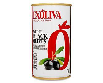 Маслини Exoliva чорні з кісточкою, 370мл