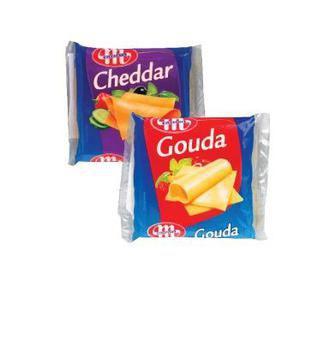 Сир плавлений Чеддер, Гауда слайсами 49% Млековіта 130 г