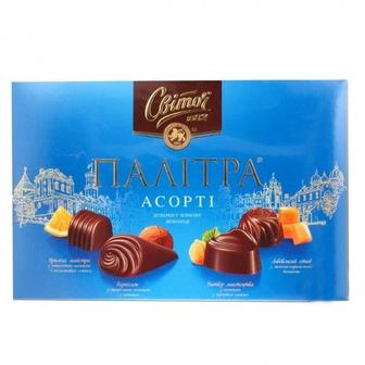 Цукерки Палітра Асорті у чорному шоколаді, у молочному шоколаді Світоч 200г