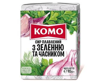 Сир плавлений «Комо» 55% з зеленню і часником, 90г