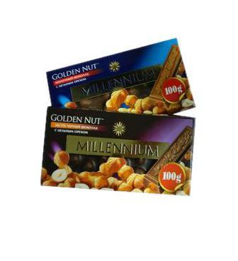 Шоколад Millennium Gold з цілим горіхом мол.та чорн.100г