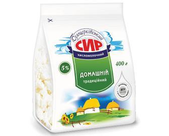 Сир кисломолочний «Білоцерківський» «Домашній традиційний» 5% жиру, 400г