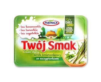 Сир Piatnica Twoj Smak вершковий із зеленою цибулею, 64% з коров'ячого молока, 135г