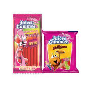 Скидка 54% ▷ Цукерки  жувальні Juicee Gumme черв'ячки/веселі бургери 80г