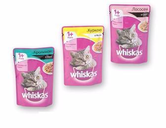 Корм консерви для дорослих котів з кроликом в соусі/ з лососем в соусі/з куркою в желе  Whiskas  100 г