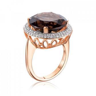 Золотое кольцо с раухтопазом и фианитами. Артикул 530197/01/1/5222