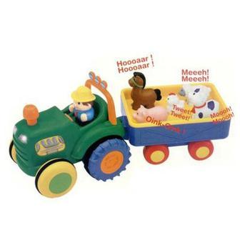Развивающая игрушка Kiddieland Трактор с трейлером интерактивная украинский (24753)