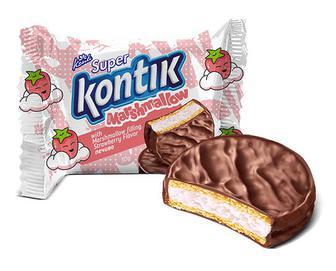 Печиво Konti Super Kontik з начинкою маршмеллоу зі смаком полуниці, 30г