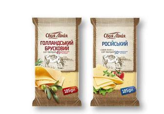 Сир твердий Гoлландський 45%/ Рoсійський» 50% Своя Лінія 185 г