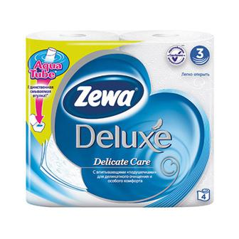 Бумага туалетная   Zewa Deluxe 3 слоя, 4 рул.