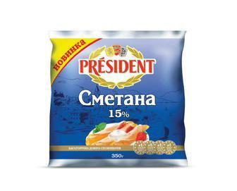 Сметана 15% President 350г