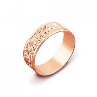 Обручальное кольцо с алмазной гранью. Артикул 1070/14