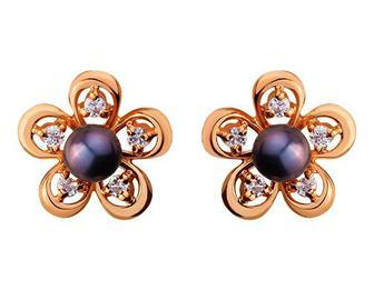 Золоті сережки з цирконієм куб. і перлиною (1с-119/2421)