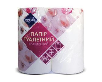 Папір туалетний тришаровий білий «Премія»® 4 рулони/уп