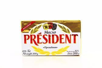 Масло вершкове 82%, PRESIDENT, 200г
