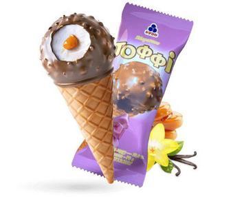 Морозиво-ріжок Тоффі Рудь 70г