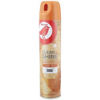 Аэрозоль для удаления пыли с дерева Auchan Clean&Shine, 300 мл