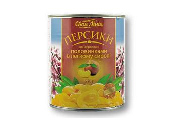Консерви персики половинками в легкому сиропі Своя Лінія 0,82 кг