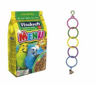 Корм для папуг Меню 500г + Дзвіночок на кільцях пласт 25см