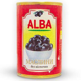 Маслини 340/360 без кісточки ж/б Маслини 340/360 з кісточкою ж/б, Alba Food, 300 мл