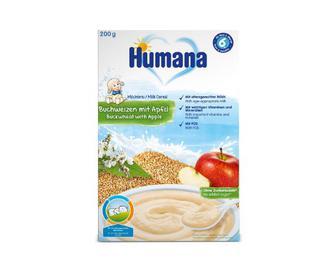 Каша Humana, молочна гречана, з яблуком, 200 г