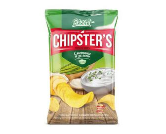 Чипси Flint Chipster's картопляні зі смаком сметани та зелені, 130г