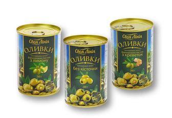 Оливки консервовані зелені фаршировані пастою з креветок/з лимону/без кісточки Своя Лінія 280 г