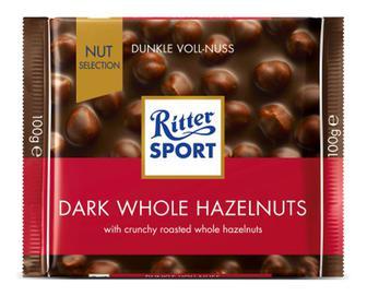 Шоколад темний Ritter Sport з цільними лісовими горіхами, 100г