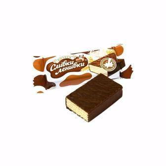 Цукерки шоколадно-вафельні Сливки-Ленивки ROSHEN 100 г