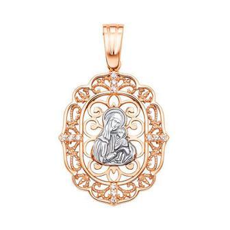 Золотая подвеска-икона Божией Матери Умиление (31110)