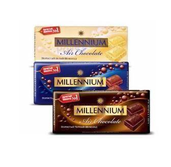 Шоколад пористий молочний, білий, чорний Міленіум 90г