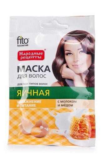 Маска для волос Fitoкосметик с молоком и медом Яичная 30 мл
