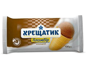 Морозиво «Хрещатик» пломбір шоколадний у вафельному стаканчику, 100г