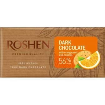Шоколад чорний/чорний з апельсиновою цедрою та печивом, 90 г Рошен