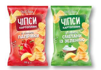 Чіпси картoпляні зі смакoм паприки/ сметани із зеленню Своя Лінія 110 г